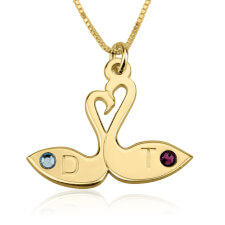 24k Gold Plated Swans & Birthstone Love Necklace
