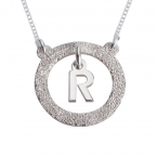 Sterling Silver Sparkling Dangling Initial Necklace - Thumb