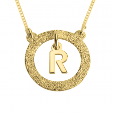 24k Gold Plated Sparkling Dangling Initial Necklace