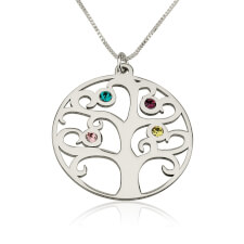 Sterling Silver Family Tree Birthstone Necklace
