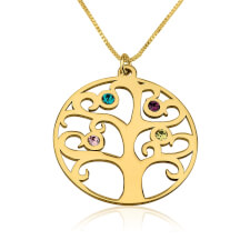 24k Gold Plated Family Tree Birthstone Necklace