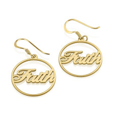 24k Gold Plated Name Hoop Earrings