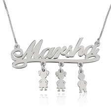 Sterling Silver Mother Name Necklace with Dangling Kids Charms