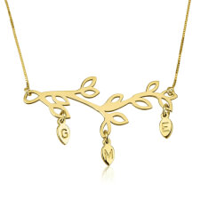 24k Gold Plated Engraved Branch Mother Necklace