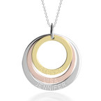 Three Tone Ring Engraved Mother Necklace - Thumb