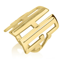 24k Gold Plated Capital Letters Monogram Ring