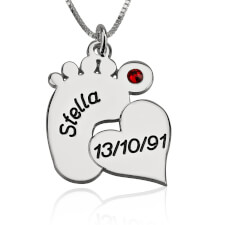 Sterling Silver Engraved Baby Feet Necklace with Heart