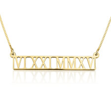 24k Gold Plated Roman Numeral Cut Out Necklace