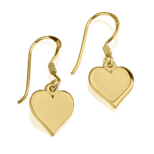 24k Gold Plated Dangle Heart Earrings