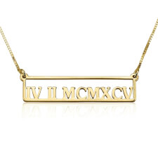 24k Gold Plated Framed Roman Numeral Bar Necklace