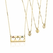 24k Gold Plated Birthstone Bar Mother Daughter Necklace Set