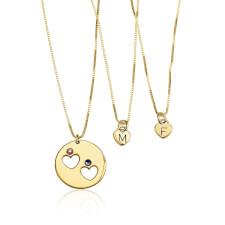 24k Gold Plated Engraved Birthstone Mother Daughter Necklace Set
