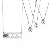 Sterling Silver Engraved Name Mother Daughter Necklace Set