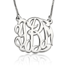 Sterling Silver Celebrity Monogram Necklace
