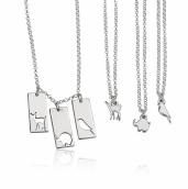 Sterling Silver Animal Mother Daughter Necklace Set