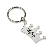 Sterling Silver Engraved Crown Name Keychain