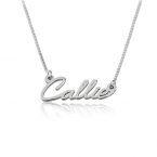 Sterling Silver Tiny Cursive Name Necklace - Thumb