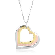 Three Toned Engraved Hearts Mother Necklace