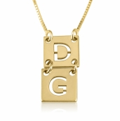 24k Gold Plated Stacked Cut Out Initials Necklace