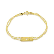 24k Gold Plated Initial and Cut Out Heart Love Bracelet