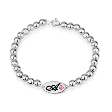 Birthstone Initial Bead Bracelet