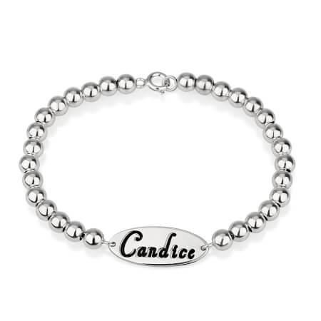 Oval Name Bead Bracelet