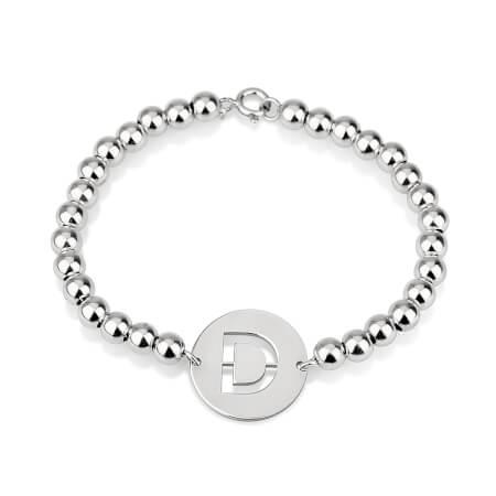 Cut Out Initial Bead Bracelet