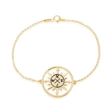 Cut Out Compass Bracelet in Gold Plating