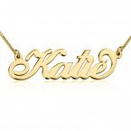 24K Gold Plated Carrie Name Necklace - Thumb