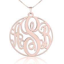 Rose Gold Circle Monogram Necklace