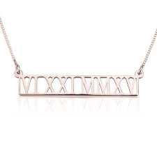 Rose Gold Roman Numeral Cut Out Necklace