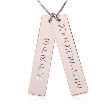 Rose Gold Vertical Bar Necklace with Two Names