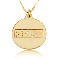 Braille Disc Necklace in Gold Plating