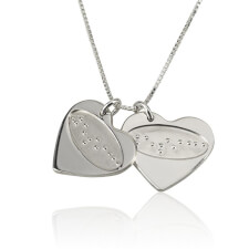 Love Braille Engraved Two Hearts
