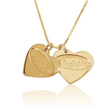 Love Braille Engraved Two Hearts in Gold Plating