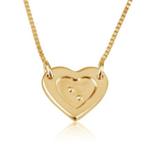 Tiny Heart Braille Necklace in Gold Plating