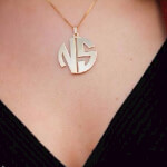 24k Gold Plated 2 Letters Capital Monogram Necklace - How it looks in reality - Thumbnail - 10