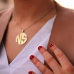 24k Gold Plated 2 Letters Capital Monogram Necklace - How it looks in reality - Thumbnail - 5