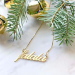 24K Gold Plated Alegro Name Necklace - How it looks in reality - Thumbnail - 3