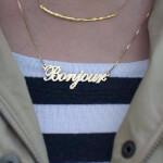 24K Gold Plated Alegro Name Necklace - How it looks in reality - Thumbnail - 5